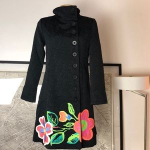 New Desigual coat black Print floral